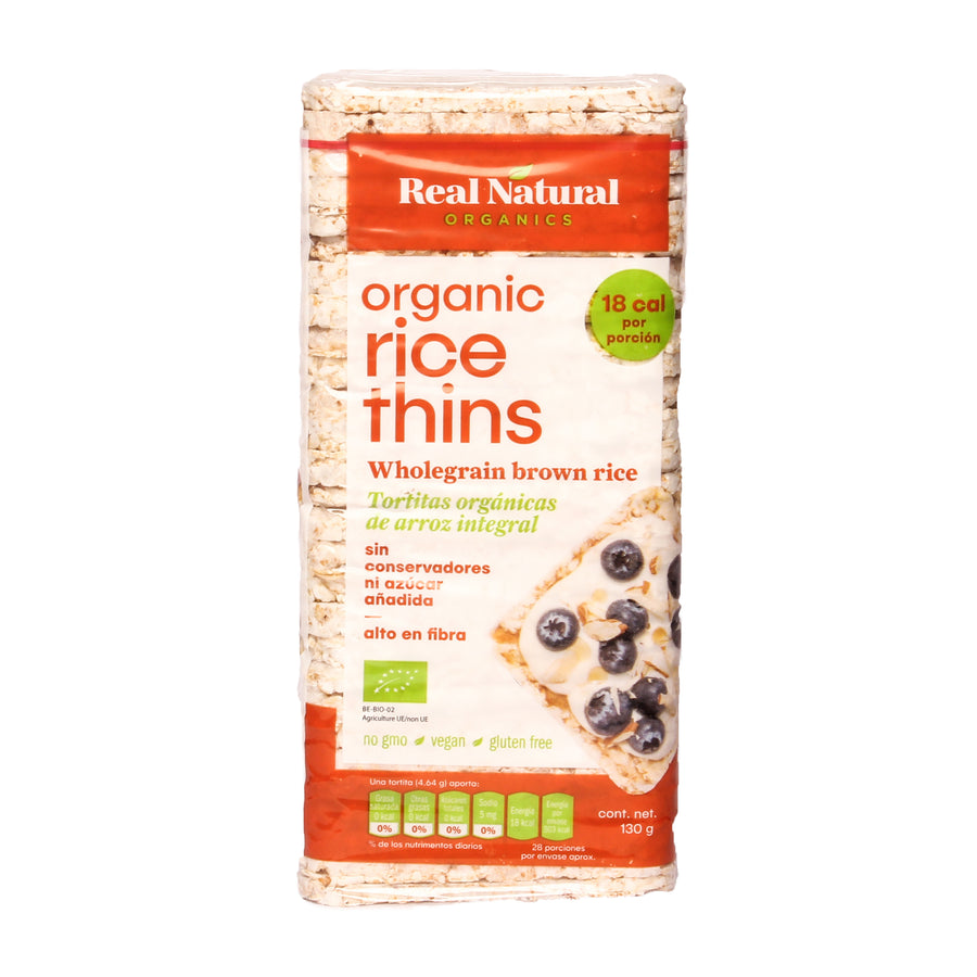 Real Organics Rice Thins Wholegrain Brown Rice