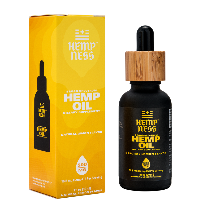 HEMPNESS CBD WELLNESS PRODUCTS BROAD SPECTRUM HEMP OIL LEMON