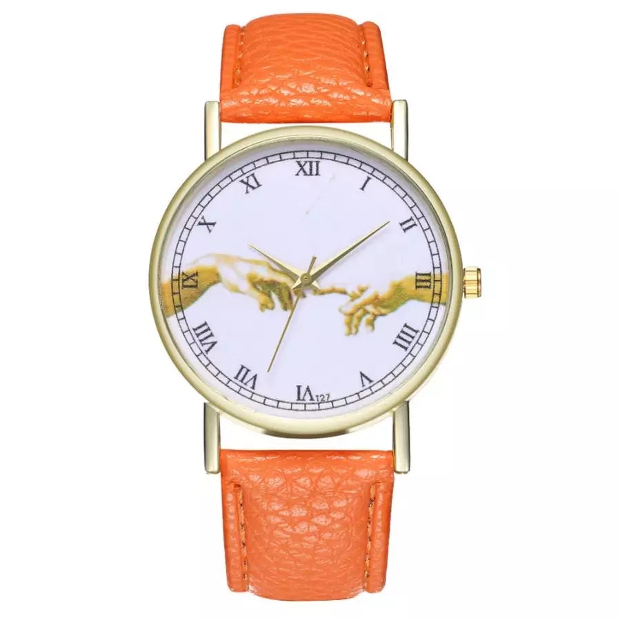 Togetherness Orange Leather Band Watch