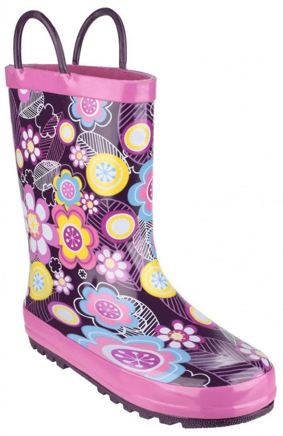 Cotswold Puddle Boot Waterproof Wellington Boots Kids - Purple Flowers - 75% OFF