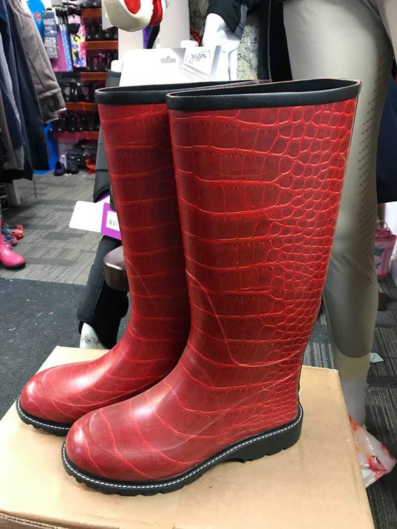 Red Scale Wellies - UK 4 - 75% OFF