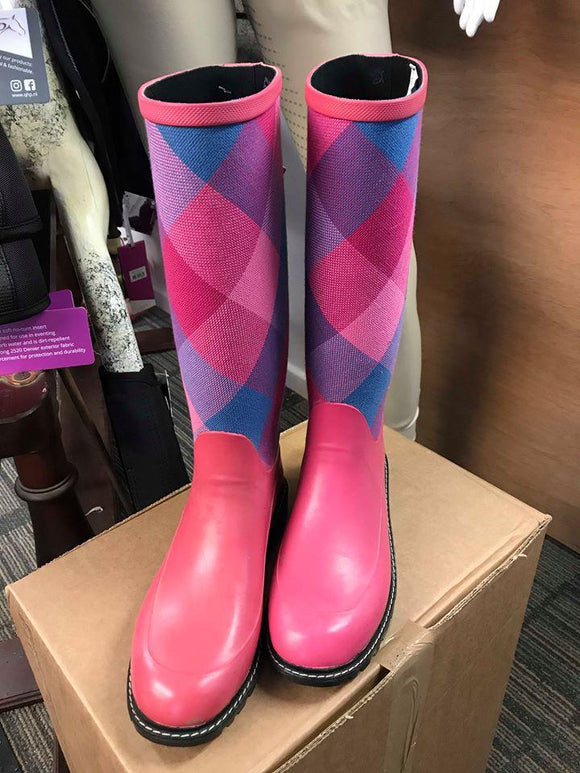 Pink Check Wellies - UK 5 - 75% OFF