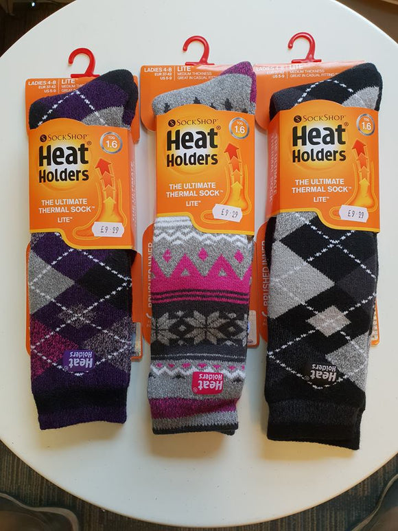 HEAT HOLDERS 1.6 TOG LITE PATTERNED KNEE HIGH SOCKS