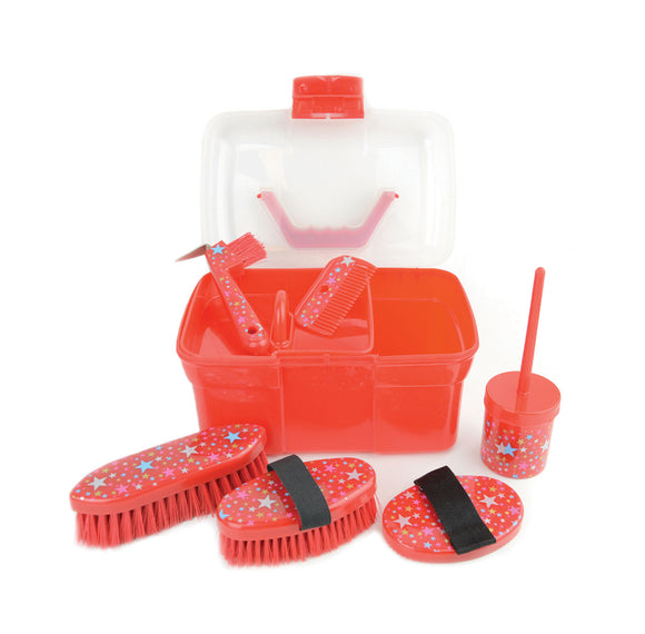 Lincoln Star Pattern Grooming Kit - Red