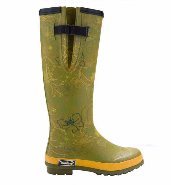 Seeland Pemberley Wellington Boots - Green Flora - UK 8 - 75% OFF