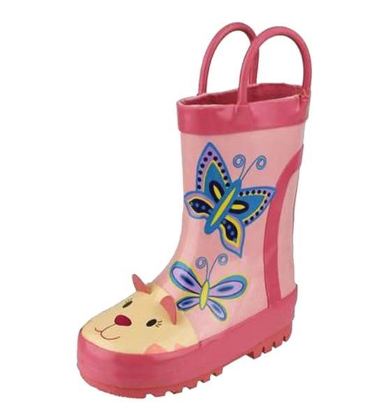 Cotswold Puddle Boot Waterproof Wellington Boots Kids - Pink Kitty - 75% OFF
