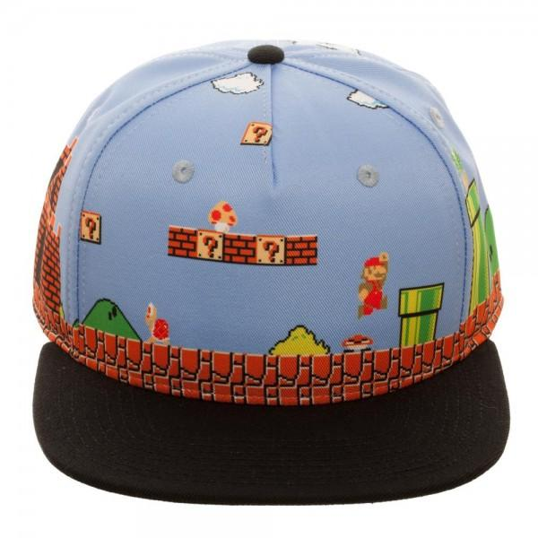 Mario 8-Bit All Over Scene Snapback Cap
