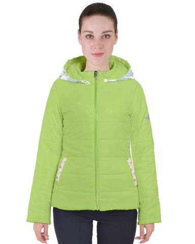 Floral Party Lime Women's Puffer Coat