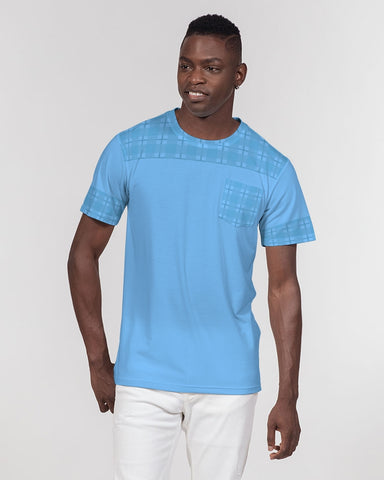 DBS Blue Plaid Men's Pocket Custom T