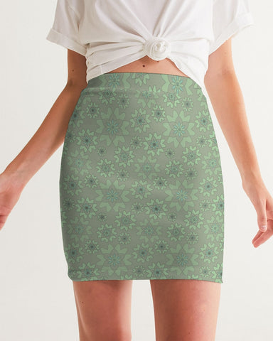 Flower Star Faded Mint Women's Mini Skirt