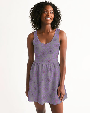 Flower Star Grape Blossom Women's Scoop Neck Skater Dress