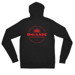 Certified Organic red ink zip hoodie