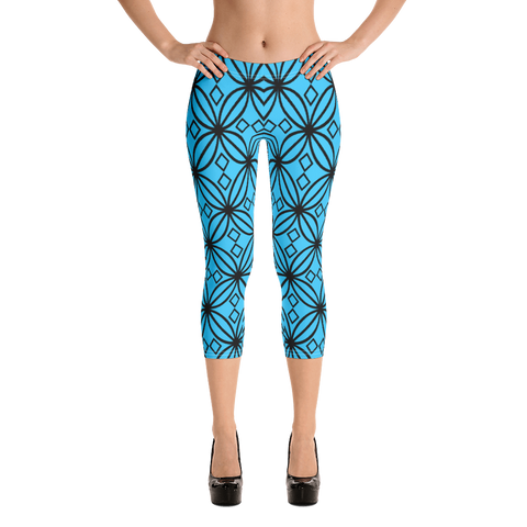 DBS Diamond blue Capri  Leggings - Designs By Sengbe