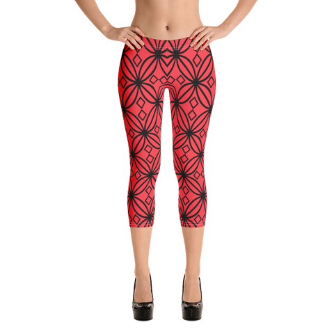 DBS Diamond red Capri Leggings - Designs By Sengbe