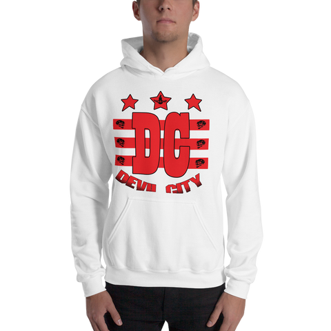 Devil City New Flag Hoodie red & black ink - Designs By Sengbe