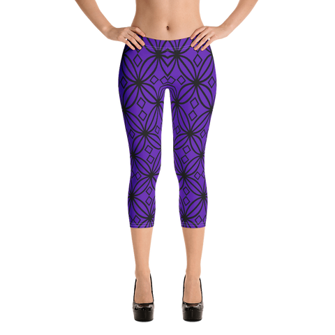 DBS Diamond purple Capri Leggings - Designs By Sengbe