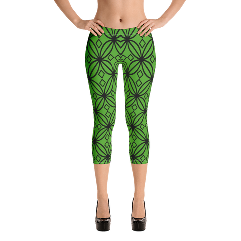 DBS Diamond green Capri Leggings - Designs By Sengbe