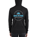 Certified Organic white&blue ink zip hoodie - Designs By Sengbe
