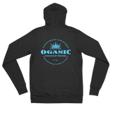 Certified Organic blue ink zip hoodie - Designs By Sengbe