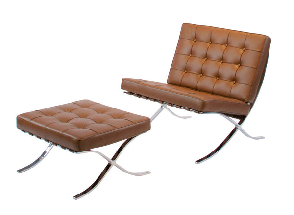 Classic Modern Leather Lounge Chair and Ottoman