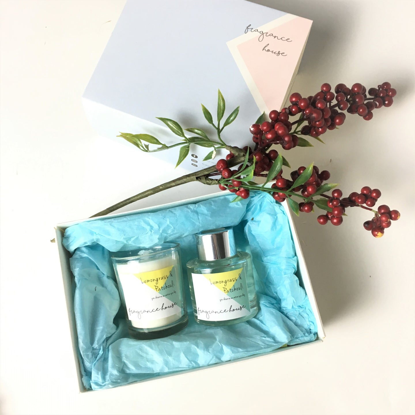 迷你香薰禮品套裝 Mini Fragrance Gift Set • 50ml Diffuser + 68g Candle • 檸檬草與廣藿香 | Lemongrass & Patchouli