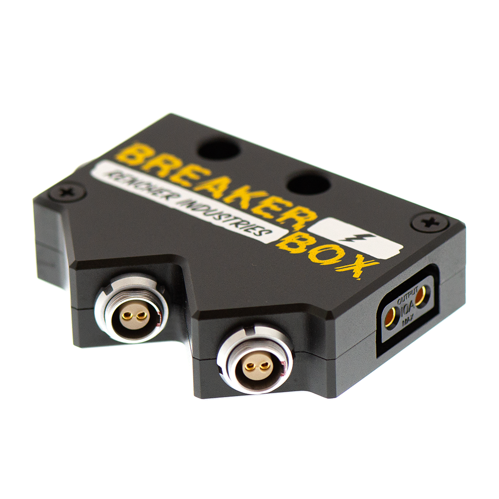 BreakerBox has three 2-pin Lemo inputs / outputs and a P-Tap output
