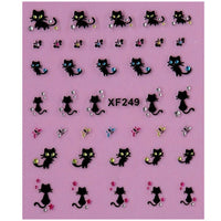 Black 3D Cat Nail Decals