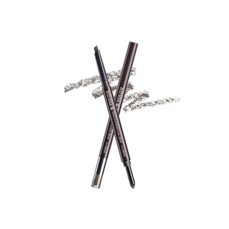 THE SAEM Eco Soul Pencil & Powder Dual Brow - 02Deep Brown - lamisebeauty