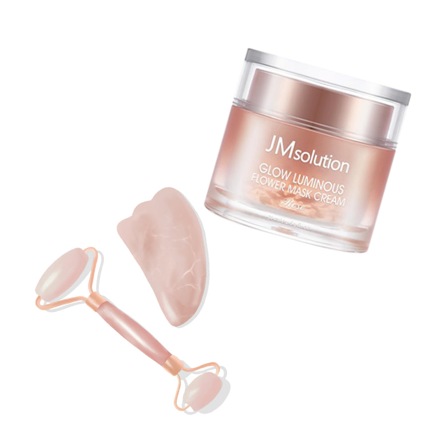 Rose Quartz Facial Roller + JMSOLUTION Glow Luminous Flower Mask Cream Set - lamisebeauty