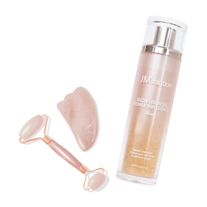 Rose Quartz Facial Roller + JMSOLUTION Glow Luminous Flower Skin Essence Set - lamisebeauty