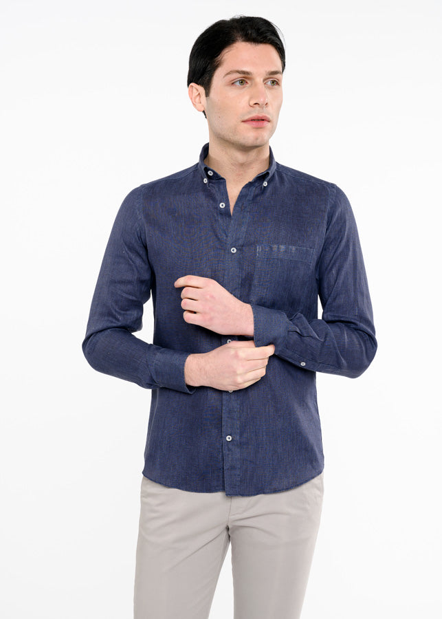 Camicia-Blu-Uomo-di-Lino-Button-Down