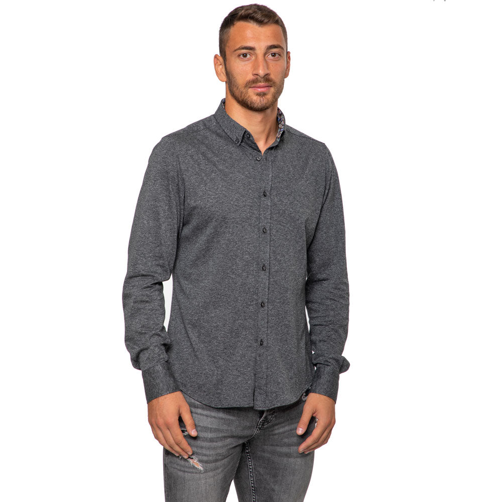 Camicia-Grigio-Button-Down-Collo-Contrasto