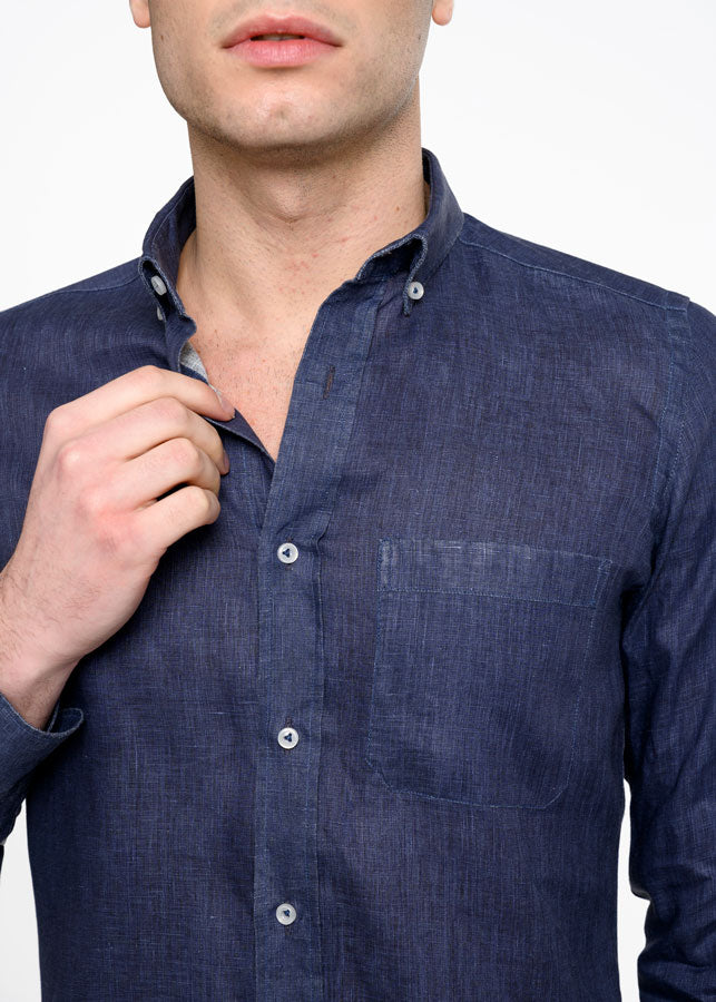 Camicia-Lino-Uomo-Collo-Button-Down