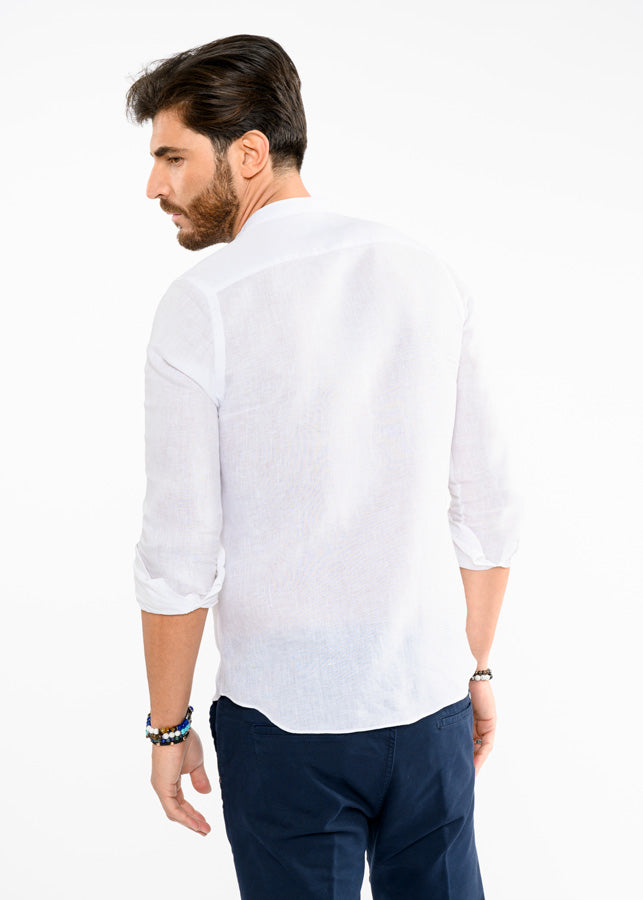 Camicia-Regular-Fit-Lino-Bianca-Uomo