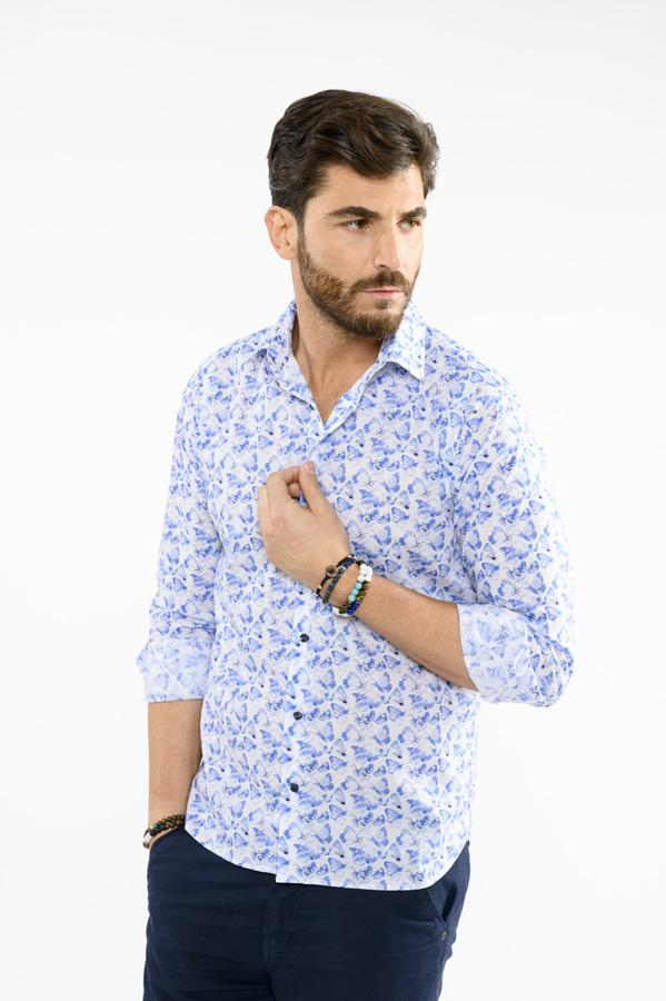 Camicia-Uomo-Slim-Fit-Pattern-Butterfly