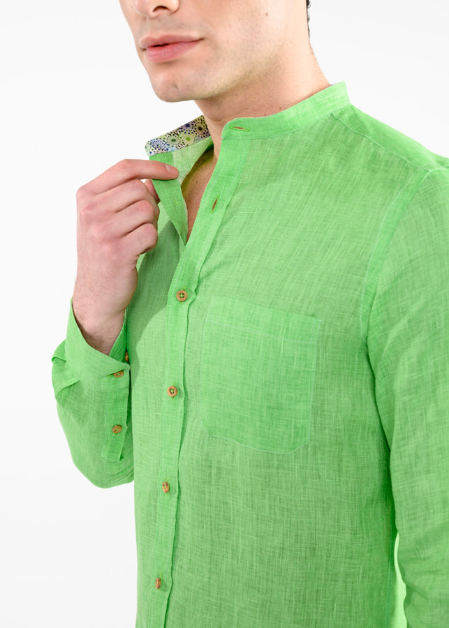 Camicia-in-Lino-Colletto-alla-Coreana-Verde