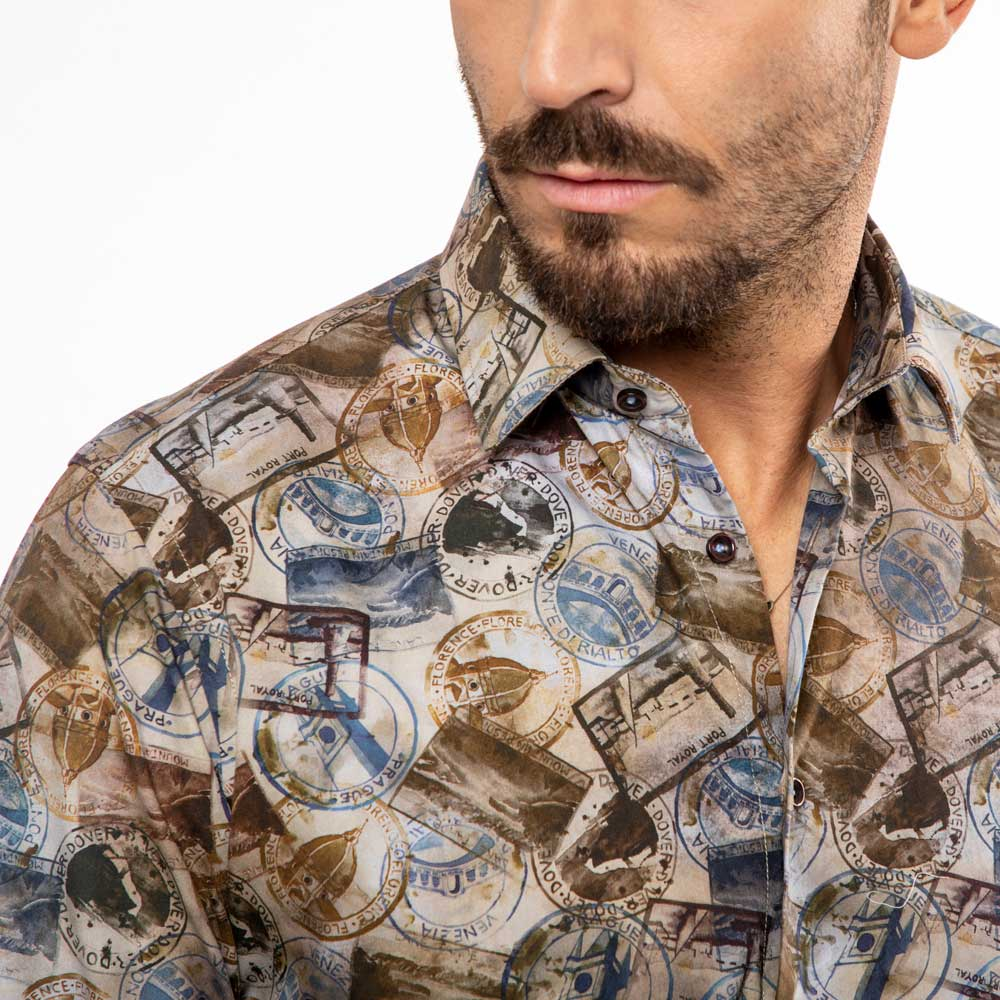 Camicia-marrone-stampa-passport-Viben