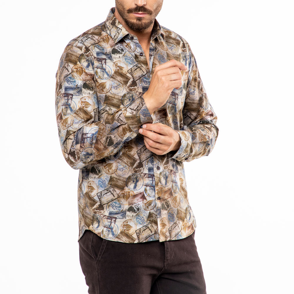 Camicia-slim-fit-con-stampa-passport-Viben