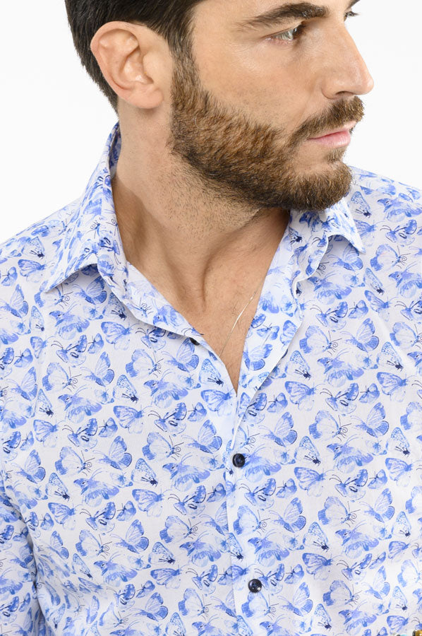 Collo-Italiano-Camicia-Slim-Fit-Pattern-Butterfly