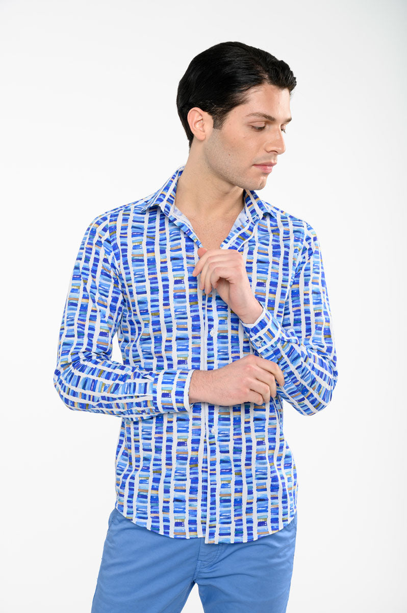 Camicia-slim-fit-stampa-acquerello