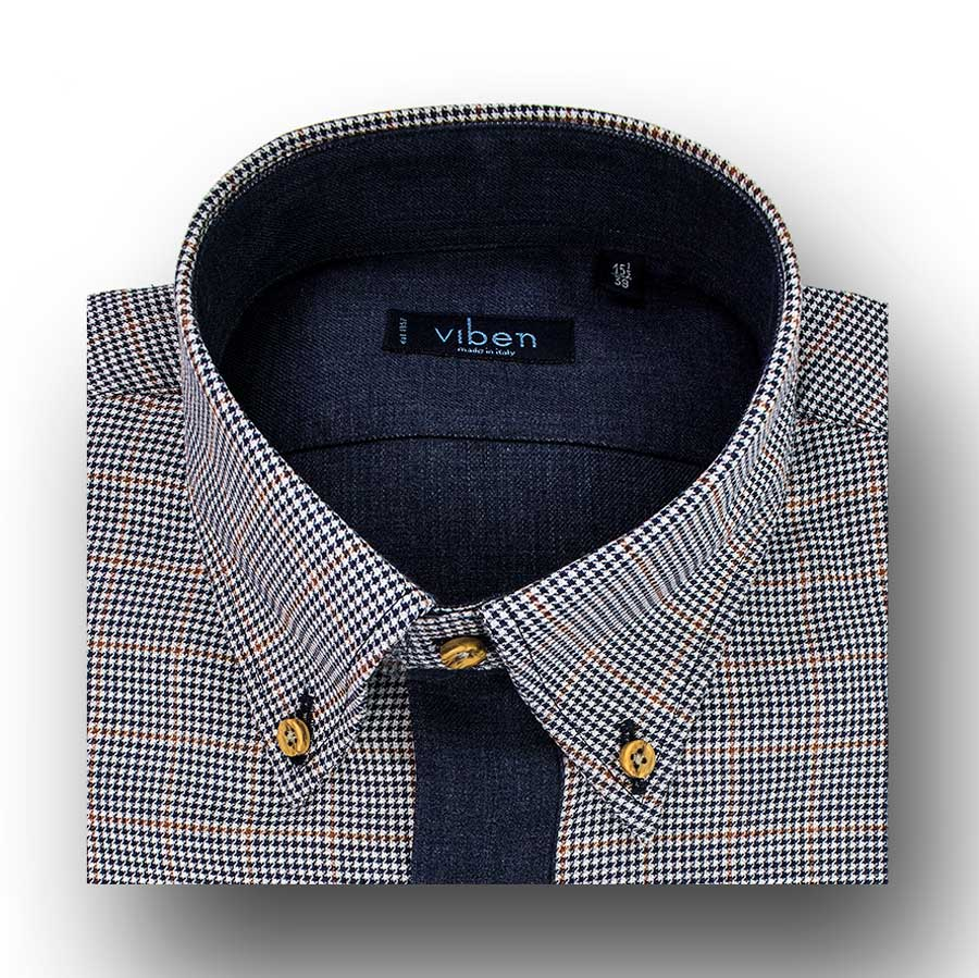 Camicia cotone flanellato collo button down