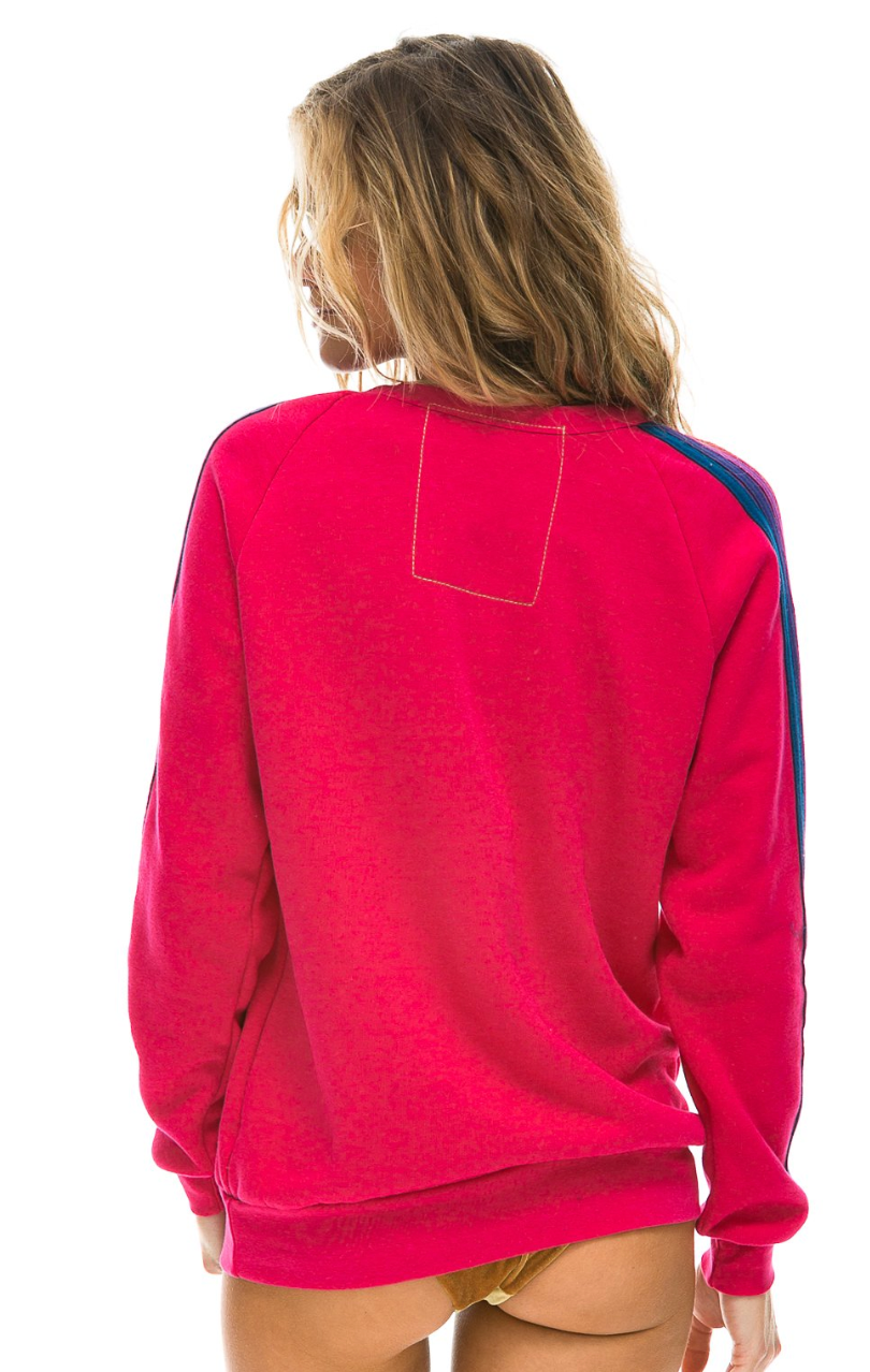 Classic Crew Sweatshirt - Rose with Purple Stripes