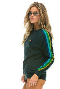 Classic 5 Stripe Crew Sweatshirt - Heather Grey