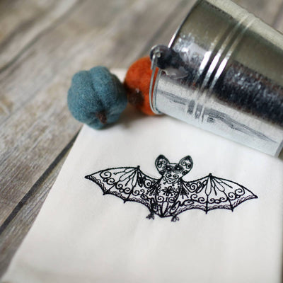 Embroidered Bat Tea Towel