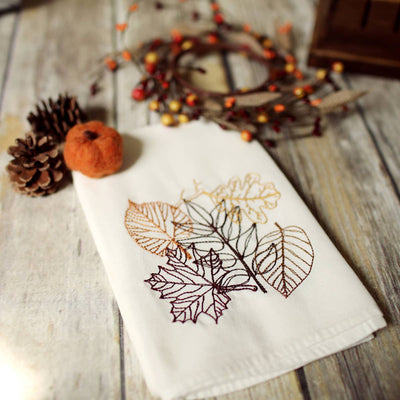 Embroidered Fall Leaves Tea Towel