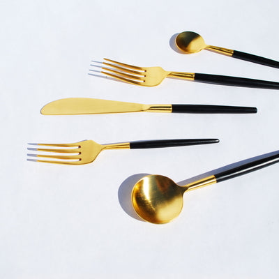 Matte Black and Gold Flatware Set