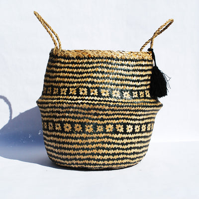 Striped Woven Seagrass Foldable Storage Basket