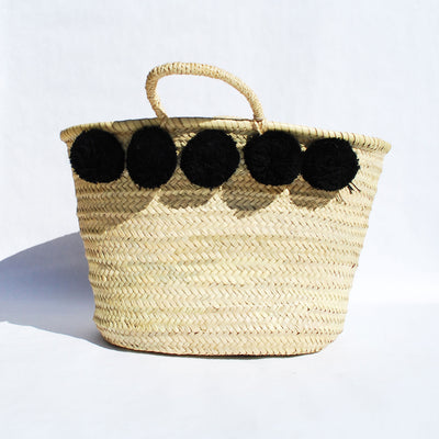 Black Market Pom Pom Straw Bag