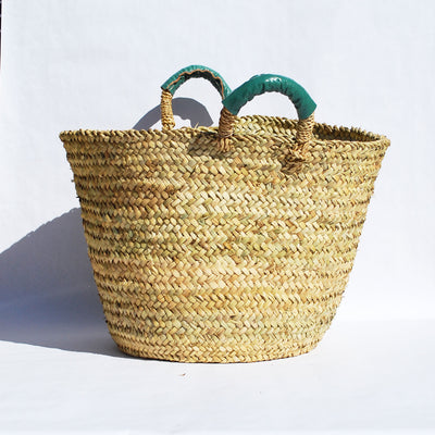 Sage Beldi Leather Storage Basket