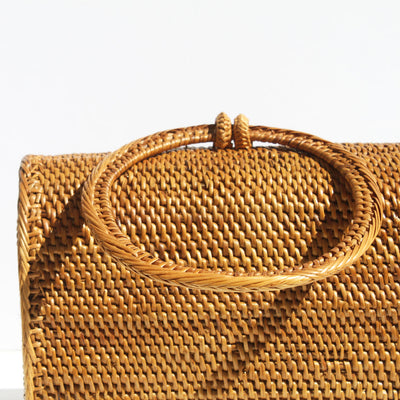 Atta Mandailing Top Handle Rattan Bag